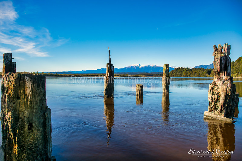Old jetty poles at Okarito