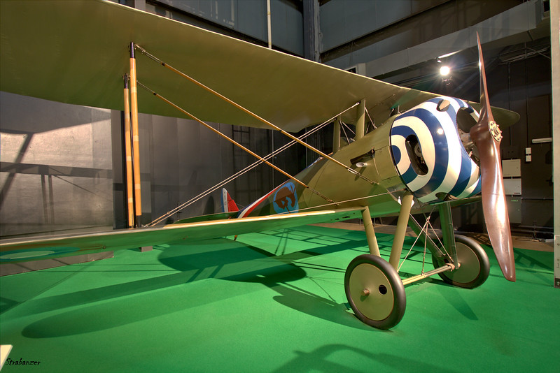 National Museum of the United States Air Force, Dayton, Ohio,   04/12/2019  A replica of a Nieuport 28 C.1,     Powered by a 160 hp  Gnome 9N  Monosoupape  (French for single-valve)  rotary engine ,   This work is licensed under a Creative Commons Attribution- NonCommercial 4.0 International License.