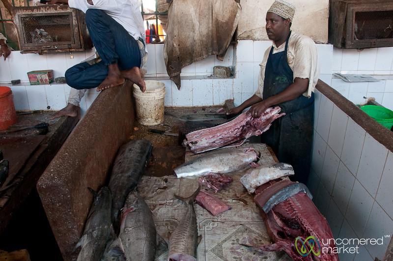 Cutting Up Tuna at Darajani Fish Market - Stone Town, Zanzibar