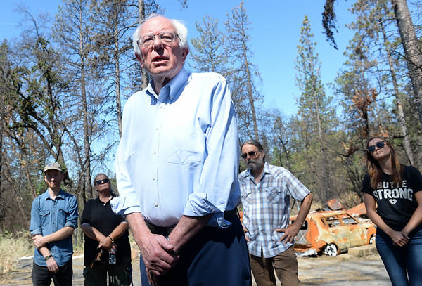 Bernie Sanders tours ruins in Paradise, visits Chico for town hall