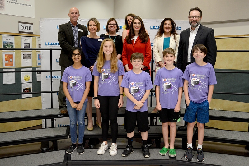 "Steiner Ranch Elementary School DI Team 2, ""Seven Sassy Savage Smiley Faces,"" recognized for being one of six LISD teams to qualify for the Global Destination Imagination Competition."