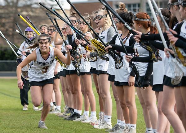Broughton girls varsity lacrosse vs Middle Creek. February 28, 2020. MRC_5423