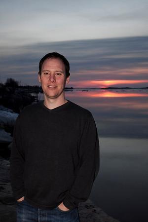 Bud Roach in Moosonee 2009 May 6 at sunrise