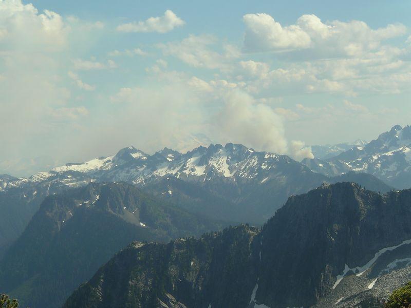 Smoke from fire near Glacier Peak.
