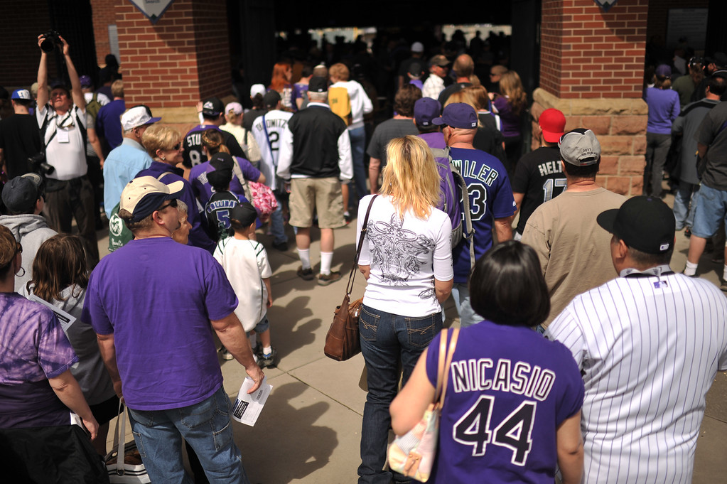 . Fans wait at the Coors Field gates before the start of the game. The Colorado Rockies took on the San Diego Padres on Opening Day at Coors Field in Denver, Colorado. (Photo by Hyoung Chang/The Denver Post)