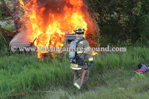 7/1/20 - Leslie car fire, US-127 @ mile marker 56