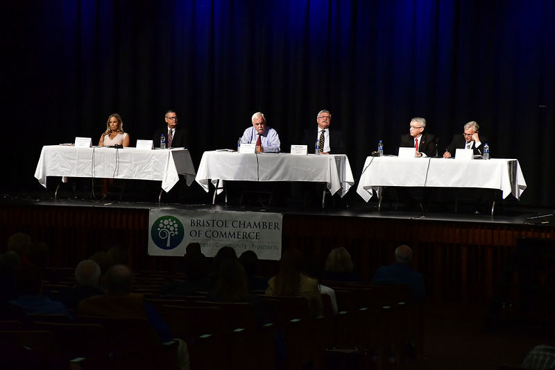 10/23/2018 Mike Orazzi | Staff The Bristol Chamber of Commerce's Senate and House forum at St. Paul Catholic High School Tuesday night.