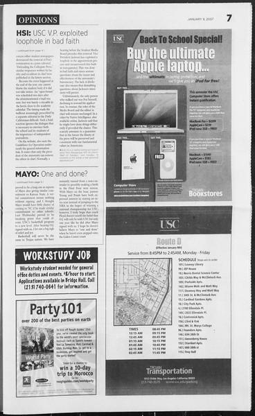 Daily Trojan, Vol. 160, No. 1, January 09, 2007