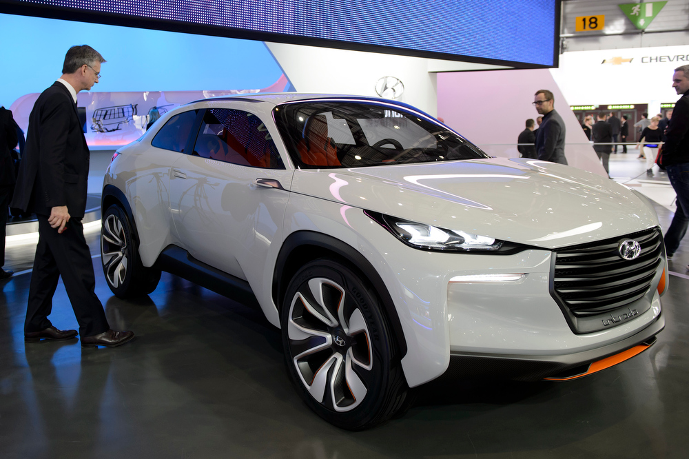 . The new Hyundai Prototype Intrado is on display during the press day at the 84.  Geneva International Motor Show in Geneva, Switzerland, Tuesday, March 4, 2014.  (AP Photo/Keystone,Martial Trezzini)