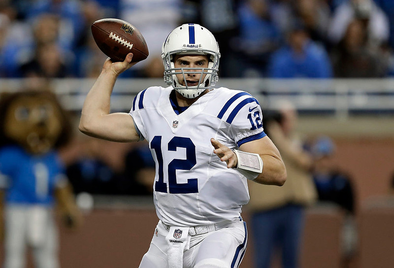 . Indianapolis Colts quarterback Andrew Luck throws against the Detroit Lions in the first quarter of an NFL football game in Detroit, Sunday, Nov. 2, 2012. (AP Photo/Paul Sancya)