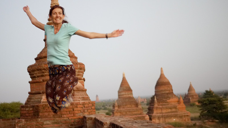 A failed jumping shot in Bagan, Burma (Myanmar)