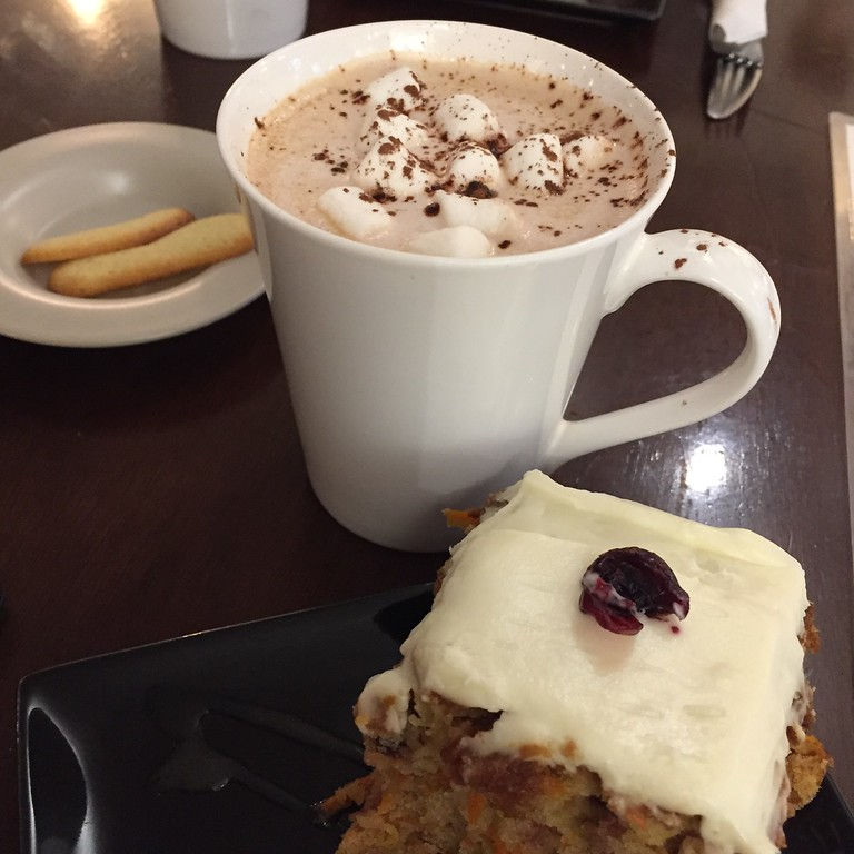 Hot chocolate and biscuits at the cat cafe in Québec City