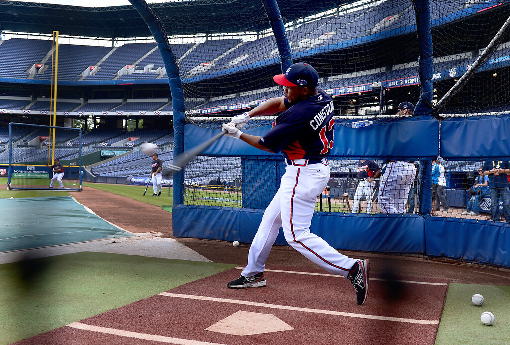 . The Atlanta Braves\' Jose Constanza practices hitting Wednesday, October 2, 2013 as the Braves get ready for the first playoff game against the Dodgers Thursday at Turner Field in Atlanta, Georgia. (Photo by Sarah Reingewirtz/Pasadena Star- News)