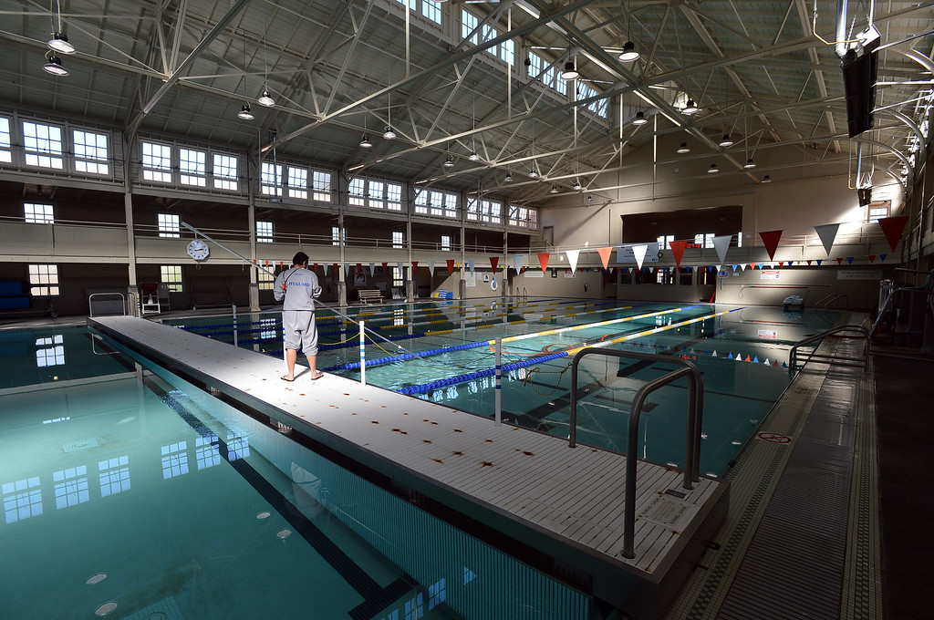 . A bulkhead divides the large pool during regular cleaning at the Plunge in the Point Richmond area of Richmond, Calif. on Monday, Jan. 28, 2013. (Kristopher Skinner/Staff)
