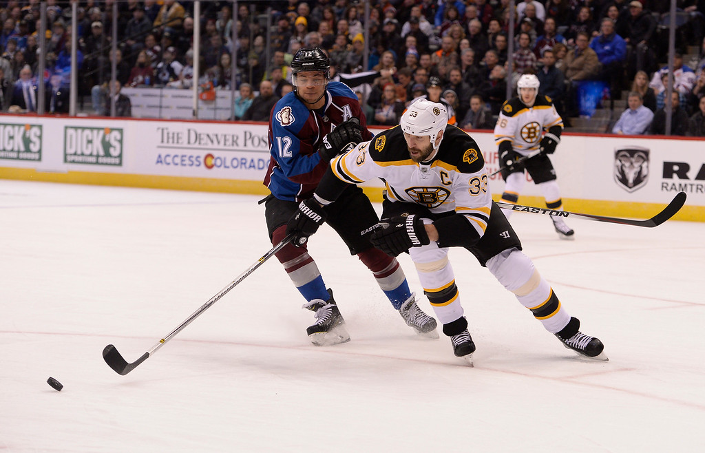 . DENVER, CO - JANUARY 21: Boston Bruins defenseman Zdeno Chara (33) and Colorado Avalanche right wing Jarome Iginla (12) race t the puck during the first period January 21, 2015 at Pepsi Center. (Photo By John Leyba/The Denver Post)
