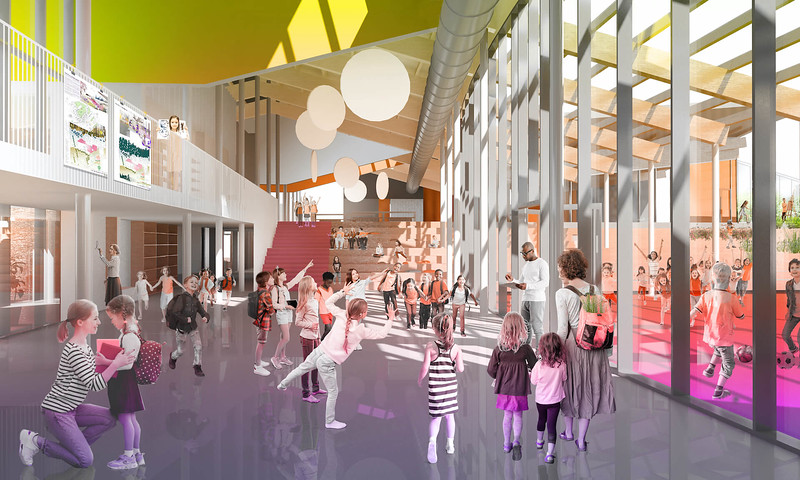 Perspective intérieure - Lapointe Magne et associés + L'ŒUF - Lauréat Lab-École - Rimouski