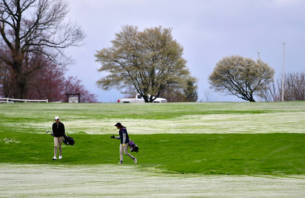 4/30/2019 Mike Orazzi | Staff Bristol Eastern's Katie Bardeck and Olivia Beaudoin during Tuesday's match with Bristol Central at Chippanee Golf Club.