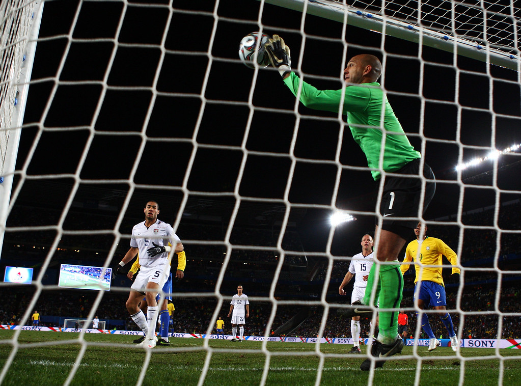 . Tim Howard of USA saves a header from Kaka of Brazil on the line during the FIFA Confederations Cup Final between USA and Brazil at the Ellis Park Stadium on June 28, 2009 in Johannesburg, South Africa.  (Photo by Alex Livesey/Getty Images)