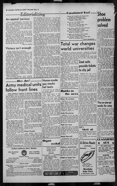 Daily Trojan, Vol. 34, No. 96, March 03, 1943