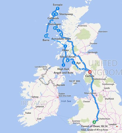 1) Itinerary - Forest Of Dean to The Hebrides, Scotland