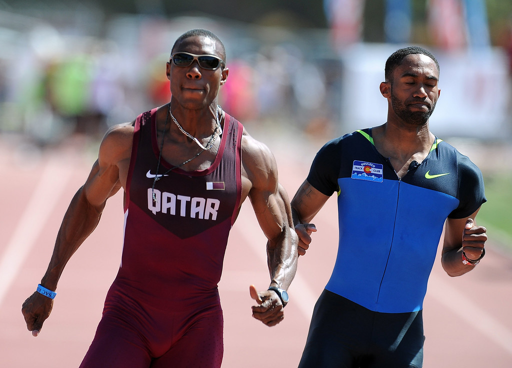 . Samuel Francis of Qatar wins the 100 meter dash olympic Development elite during the Mt. SAC Relays in Hilmer Lodge Stadium on the campus of Mt. San Antonio College on Saturday, April 20, 2012 in Walnut, Calif.    (Keith Birmingham/Pasadena Star-News)