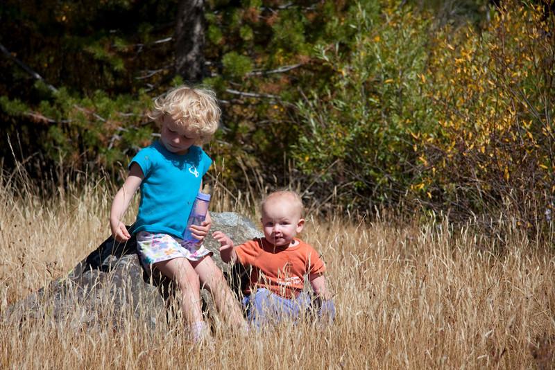 Kids together outside.