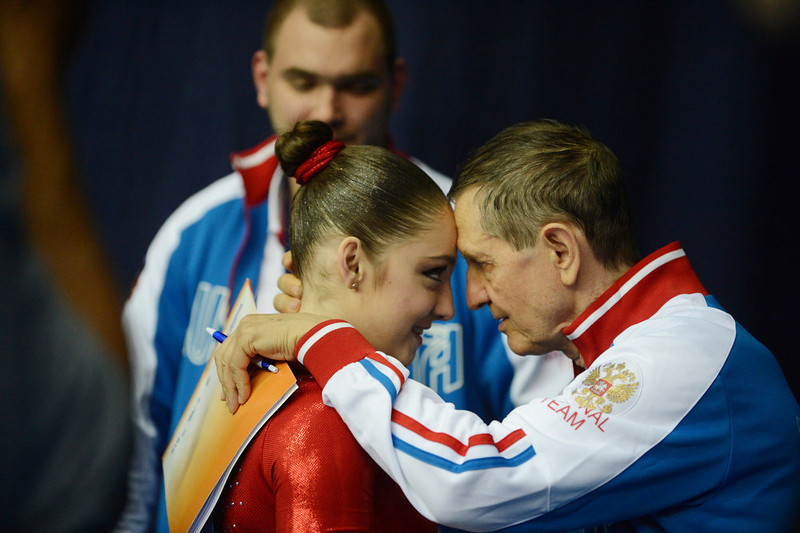. Russia\'s Aliya Mustafina (L) celebrates with her coach her victory in the women\'s all-around artistic gymnastics final during the 5th European Men\'s and Women\'s Artistic Gymnastic Individual Championships in Moscow on April 19, 2013. Russia\'s Aliya Mustafina took the first place, Romania\'s Larisa Andreea Iordache took second place and  Russia\'s Anastasia Grishina took third place. NATALIA KOLESNIKOVA/AFP/Getty Images