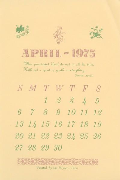 April, 1975, Wyvern Press