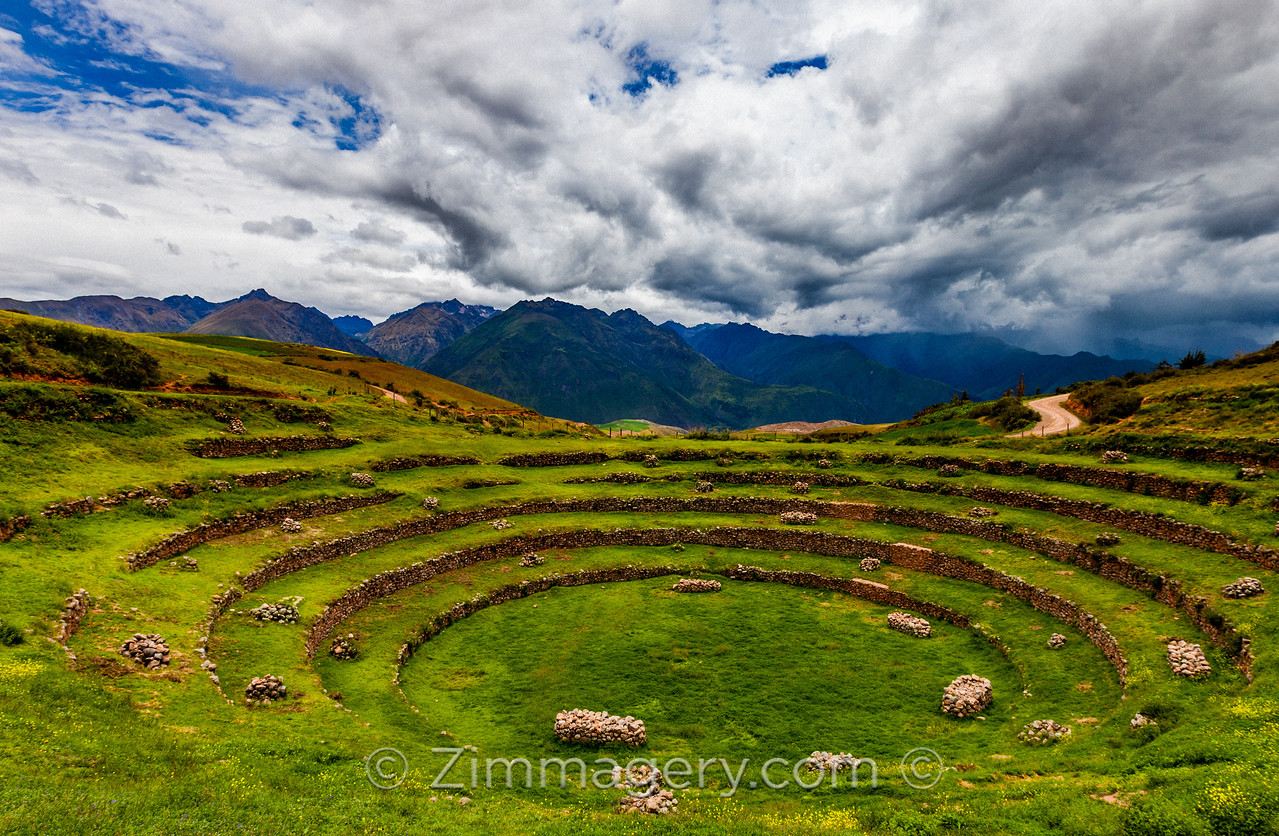 Moray Circle with Clouds, Peru