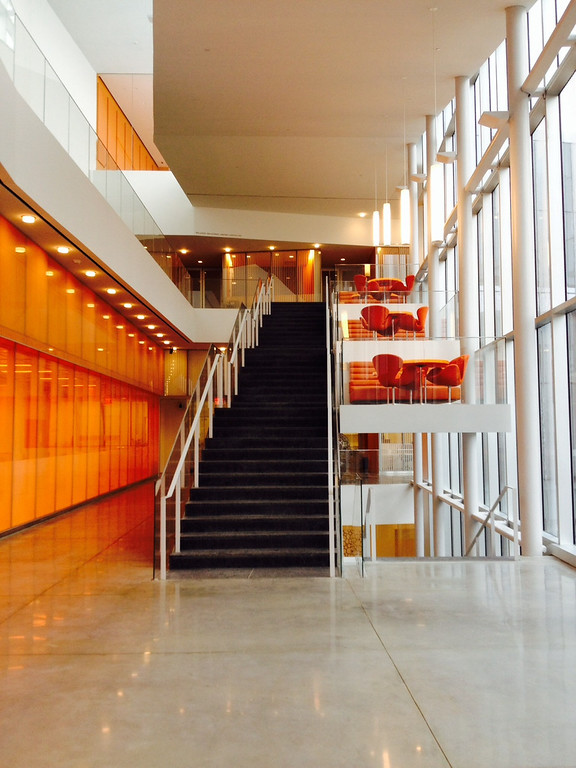 . Orange, Orange. The Singh Center for Nanotechnology makes colorful statement with its interior: white, gray, black and bright oranges. Photo by Ray Mark Rinaldi, Denver Post.