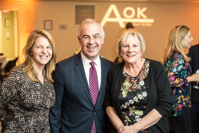 Kathy Fletcher, David Brooks, Sara Pratt, First Annual All Our Kids Awards Dinner, AOK, at Sixth & I, February 15, 2018, photo by Ben Droz.