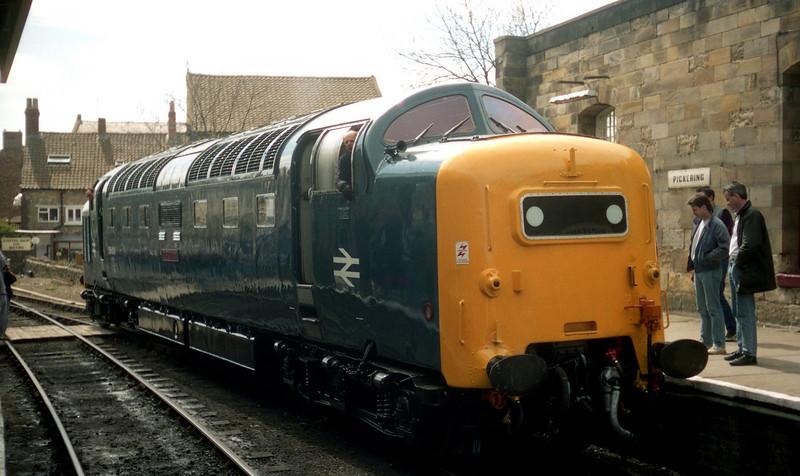 55009 running round at Pickering to work the 1340 to Grosmont. 28.04.90