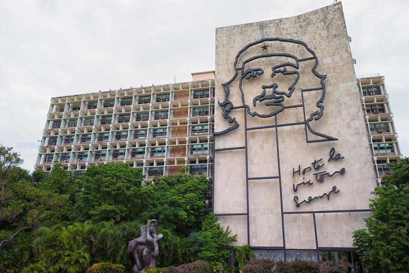 """Havana's Plaza de la Revolución with a steel memorial for Che Guevara with the quote """"Hasta la Victoria Siempre"""" (Until the Everlasting Victory, Always)"""
