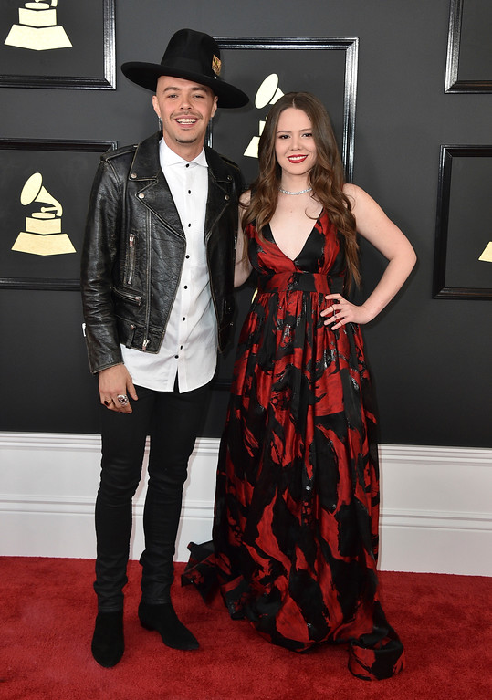 . Jesse Huerta, left, and Joy Huerta of Jesse & Joy arrive at the 59th annual Grammy Awards at the Staples Center on Sunday, Feb. 12, 2017, in Los Angeles. (Photo by Jordan Strauss/Invision/AP)