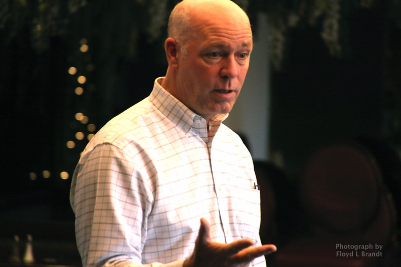 Havre Daily News/Floyd Brandt  Greg Gianforte speaking at the Pachyderm Club meeting at the Duck Inn Wednesday Oct 18, 2017 Havre, Montana