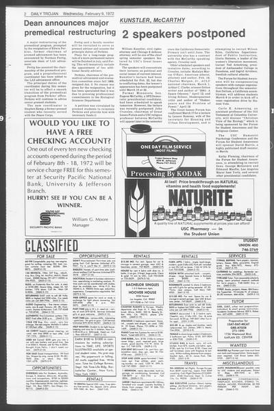 Daily Trojan, Vol. 64, No. 66, February 09, 1972