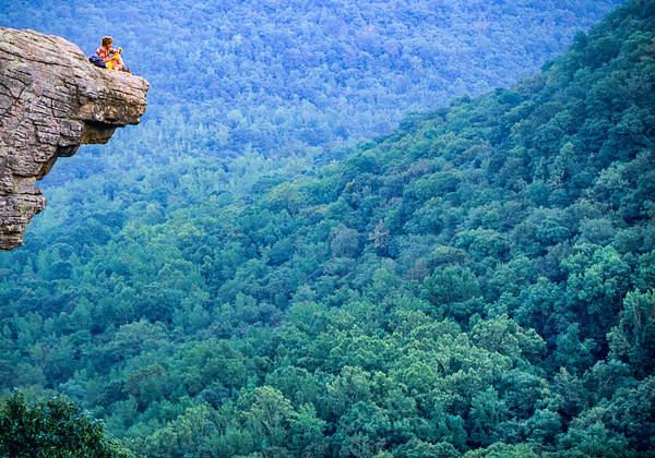 Biker at Hawksbill Crag in Upper Buffalo Wilderness Area  --  a Short Hike (3 Miles Roundtrip) from Adventure Cycling's Central Loop