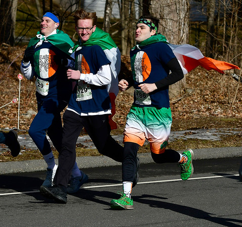 3/16/2019 MIke Orazzi | Staff Runners Aidan Krok, Dylan Braccia and Keagan Mullan during the 17th Annual Shamrock Run & Walk at Chippens Hill Middle School on Saturday in Bristol.
