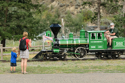 Checking out the train at the BC Wildlife Park