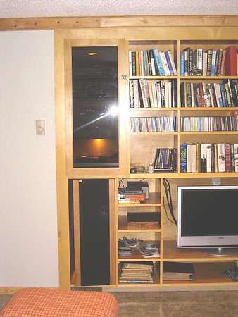 The lower level sound system and entertainment center at Walberswick House and Studios
