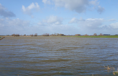 Hoogwater IJssel bij Zalk 10-2-2020