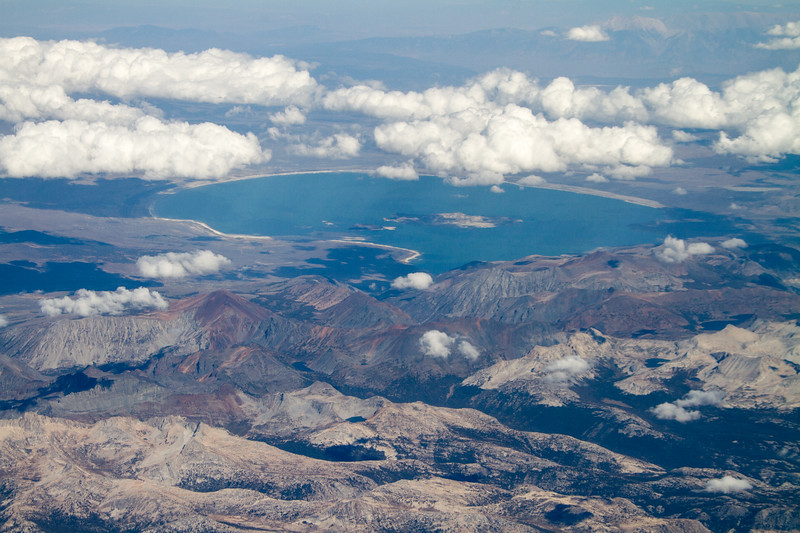 Aerial view of lake with mountains