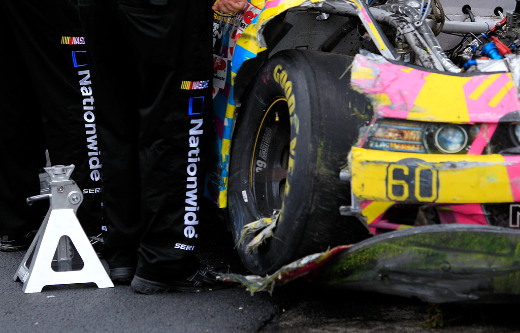 . TALLADEGA, AL - MAY 04:  A detail of damage suffered by the #60 Roush Fenway Racing Ford driven by Travis Pastrana (not pictured) in the garage area after the car was knocked out of the race  during the NASCAR Nationwide Series Aaron\'s 312 at Talladega Superspeedway on May 4, 2013 in Talladega, Alabama.  (Photo by Sean Gardner/Getty Images)