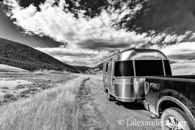 The trusty Airstream Bambi and Ford 150 FX4, perfect road companions. - Black & White version