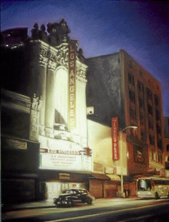 """. \""""Los Angeles Theater\""""  by Los Angeles pastel artist Nancy Popenoe.  Popenoe gets her inspiration from the streets and night scenes around her Los Angeles neighborhood.  Photo by David Crane/Los Angeles Daily News"""