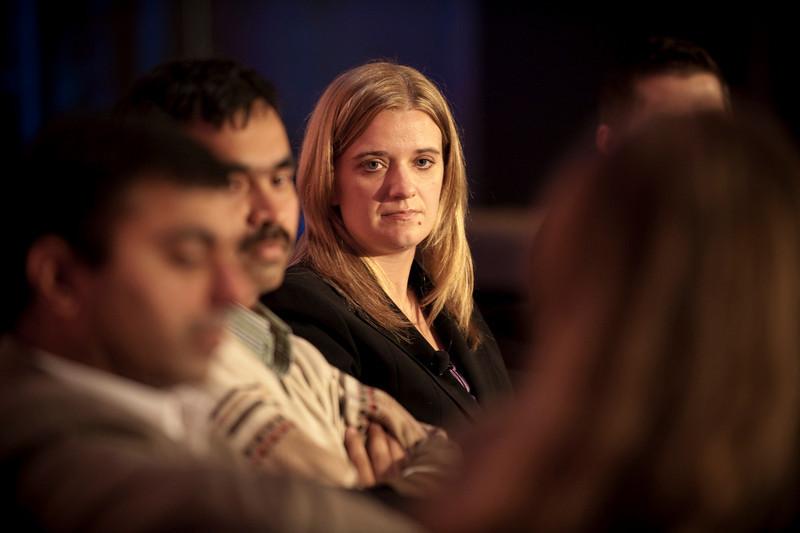 CTO Design Challenge II: (L-R) Sajal Sahay, Executive Director Marketing, Devices Innovation, T-Mobile USA; panel leader Chetan Sharma, President, Chetan Sharma Consulting; and Tricia Duryee, Principal Correspondent, mocoNews