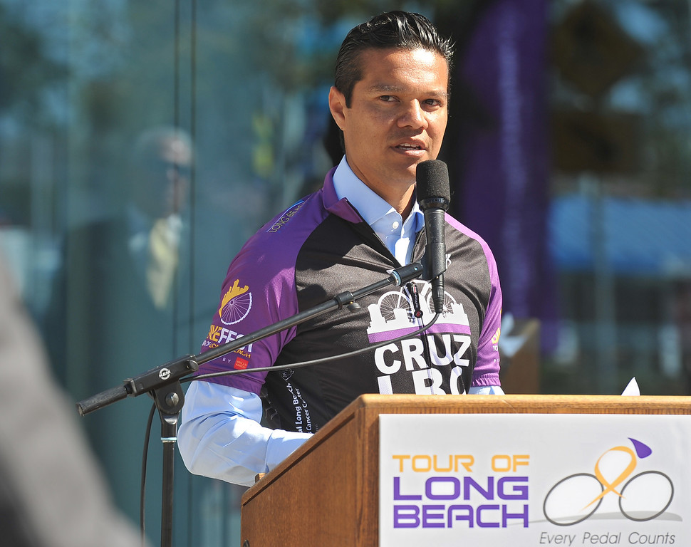 . 4/11/13 - Tony Cruz, 2000 U.S. Olympian and Professional Cyclist speaks to the crowd just before the annual tricycle track to kick-off the Tour of Long Beach (TOLB) which happens May 11, 2013. Proceeds from the Tour of Long Beach benefit the patients and families at the Jonathan Jaques Children�s Cancer Center at Miller Children�s. Photo by Brittany Murray / Staff Photographer
