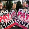 Lecturers Jerome Donnelly, Laura McShane and Bill Finnegan pictured at the strike at Newry and Kilkeel Institute as part of an ongoing campaign to get pay parity with schoolteachers. 06W42N18