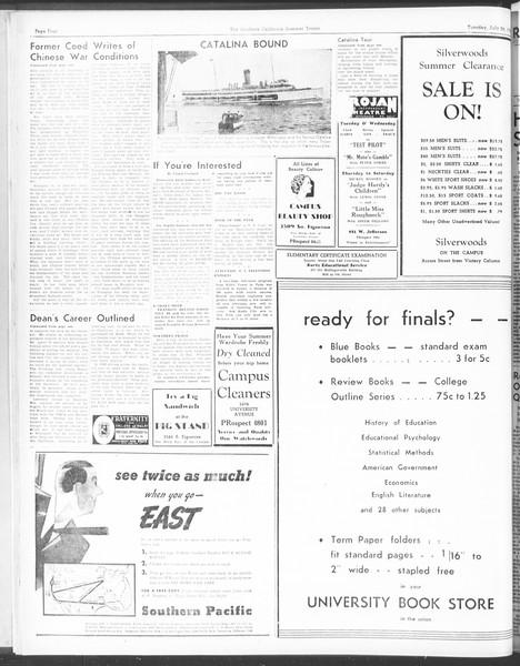Summer Trojan, Vol. 17, No. 10, July 26, 1938