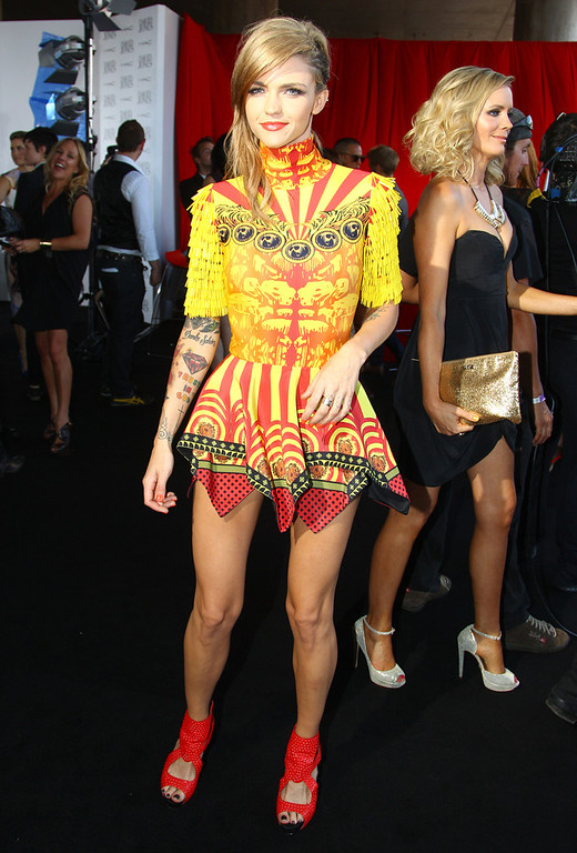 . Ruby Rose arrives for the Australian music industry Aria Awards in Sydney, Thursday, Nov. 29, 2012. (AP Photo/Rick Rycroft)